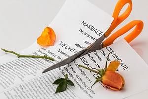 Scissors cutting legal document