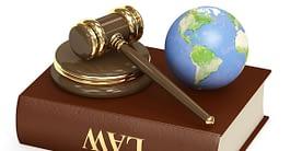 Law book, gavel and globe